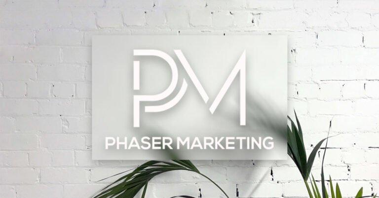 Phaser Marketing logo on white wall